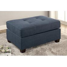 Deidara Cocktail Ottoman, Blue-dorris-fabric