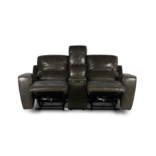 Laurel Dual-Power Reclining Console Loveseat, Grey