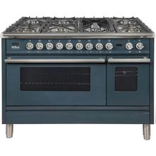 Professional Plus 48 Inch Dual Fuel Natural Gas Freestanding Range in Blue Grey with Chrome Trim