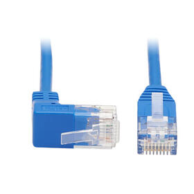 Up-Angle Cat6 Gigabit Molded Slim UTP Ethernet Cable (RJ45 Right-Angle Up M to RJ45 M), Blue, 1 ft.