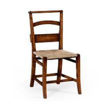 Rustic walnut church side chair