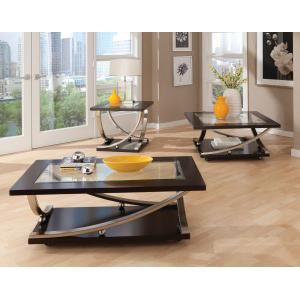 Standard Furniture - Melrose Rectangle Cocktail Table with Glass Top and Casters, Brown