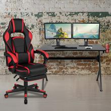 Black Gaming Desk with Cup Holder\/Headphone Hook\/2 Wire Management Holes & Red Reclining Back\/Arms Gaming Chair with Footrest