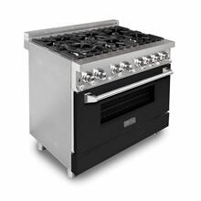 ZLINE 36 in. Professional Dual Fuel Range with Black Matte Door (RA-BLM-36)