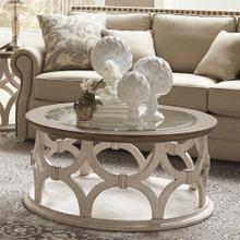 View Product - Elizabeth - Round Coffee Table - Smokey White/antique Oak Finish