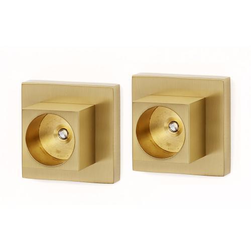Contemporary II Shower Rod Brackets A8446 - Satin Brass