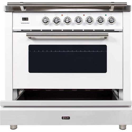 Ilve - Professional Plus 36 Inch Gas Natural Gas Freestanding Range in White with Chrome Trim