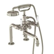 Arcade Exposed Deck-mount Bathtub Faucet with Handshower and White Lever Handles - Polished Chrome