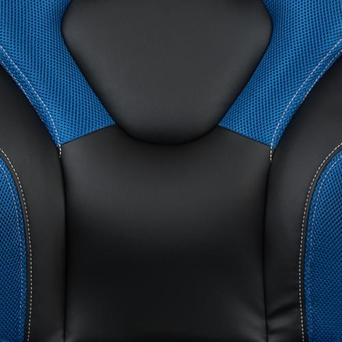 Gallery - Black Gaming Desk and Blue and Black Racing Chair Set with Cup Holder, Headphone Hook & 2 Wire Management Holes