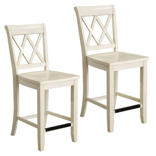Vintage Distressed 2-Pack White Counter Height Stools