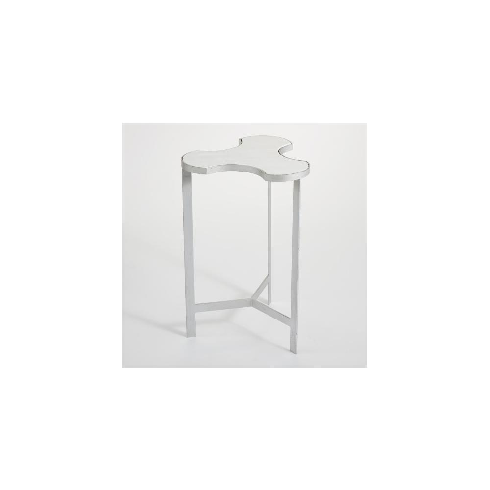 Link Bunching Table-Silver w/White Marble Top