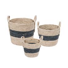 Blue Stripe Natural Baskets, Set of 3
