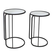 """S/2 Metal/mirror 23/25"""" Accent Tables, Black"""