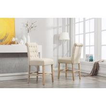 See Details - Siena Counter Height Button Tufted Back Solid Wood Stools, Set of 2, Tan