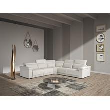 Estro Salotti Palinuro White Leather Sectional Sofa w/Recliners