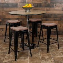 "24"" High Metal Counter-Height, Indoor Bar Stool with Wood Seat in Black - Stackable Set of 4"