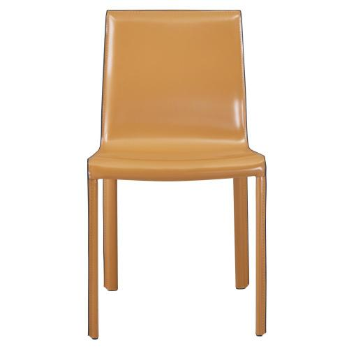 Gervin Recycled Leather Chair, Chestnut