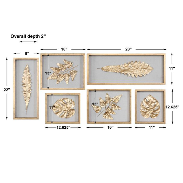 Uttermost - Golden Leaves Shadow Boxes, S/6