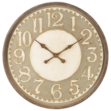 Rusted Grey & Ivory Embossed Wall Clock