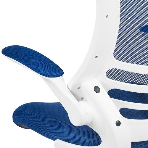 Gallery - Mid-Back Blue Mesh Swivel Ergonomic Task Office Chair with White Frame and Flip-Up Arms