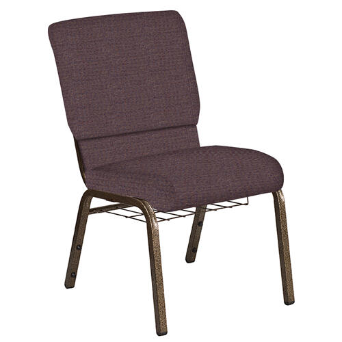 Flash Furniture - 18.5''W Church Chair in Interweave Cadet Fabric with Book Rack - Gold Vein Frame