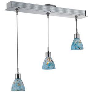 3-lite Ceiling Lamp, Ps W/colored Aqua Glass Shd, Mr16 35wx3