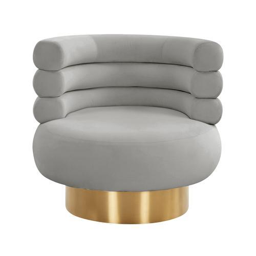 Tov Furniture - Naomi Grey Velvet Swivel Chair