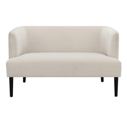 Velvet Glam Channel Tufted Sofa in Cream