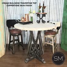 "See Details - Natural Travertine Bar Table, Wrought Iron Base-1243E - 38"" / Dark Rust Brown / Peach Bullnose"
