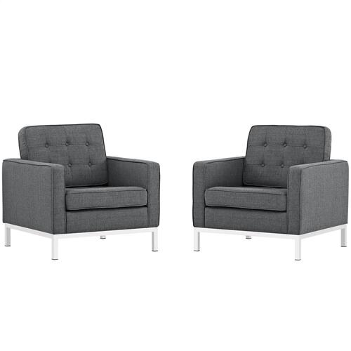 Loft Armchairs Upholstered Fabric Set of 2 in Gray
