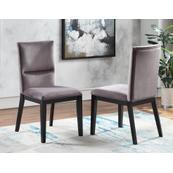 Amalie Side Chair, Grey Velvet