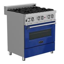 ZLINE 30 in. Professional Dual Fuel Range in DuraSnow® Stainless Steel with Blue Gloss Door (RAS-BG-30)