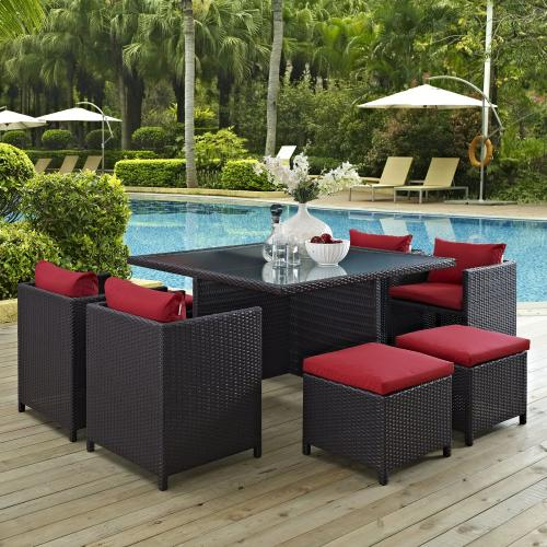 Inverse 9 Piece Outdoor Patio Dining Set in Espresso Red