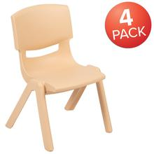 4 Pack Natural Plastic Stackable School Chair with 12'' Seat Height [4-YU-YCX-001-Natural-GG]