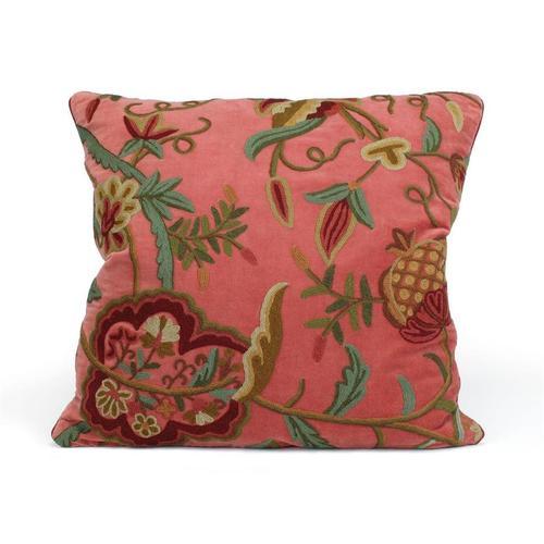 Rose Velvet Pillow with a Floral Motif