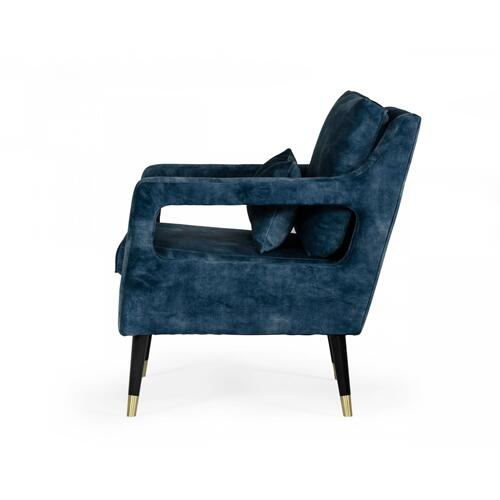 Divani Casa Doherty - Mid-Century Blue Accent Chair