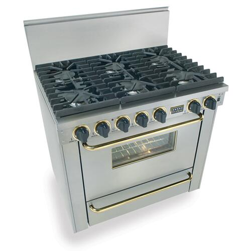 """Five Star - 36"""" Six Burner All Gas Range, Sealed Burners, Stainless Steel with Brass"""
