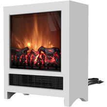 See Details - 19-In Freestanding 4606 BTU Electric Fireplace with Wood Log Insert, White