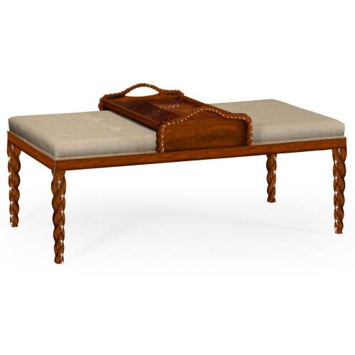 Upholstered ottoman with tray table and walnut twisted legs