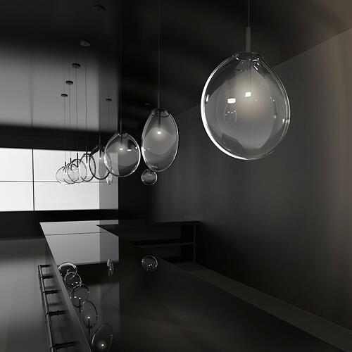 Sonneman - A Way of Light - Cantina LED Pendant [Size=Large 3-Light Tri-Spreader, Color/Finish=Satin Black w/Clear Glass]
