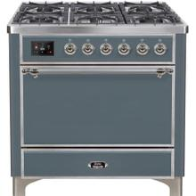 See Details - Majestic II 36 Inch Dual Fuel Natural Gas Freestanding Range in Blue Grey with Chrome Trim
