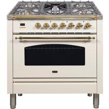 Nostalgie 36 Inch Dual Fuel Natural Gas Freestanding Range in Antique White with Brass Trim