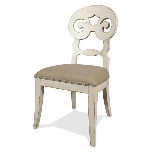 Mix-n-match Chairs - Scroll Back Upholstered Side Chair - Chipped White Finish