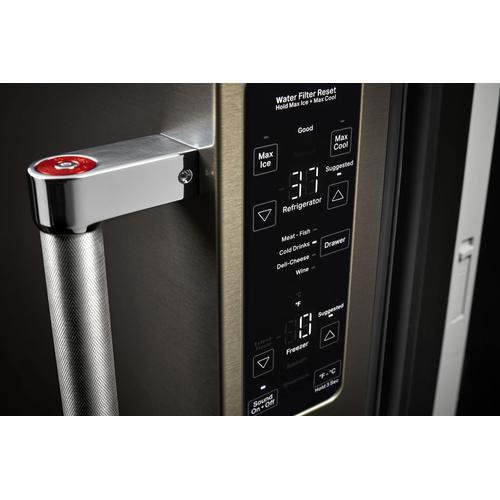 "23.8 cu. ft. 36"" Counter-Depth French Door Platinum Interior Refrigerator with PrintShield™ Finish - Black Stainless Steel with PrintShield™ Finish"
