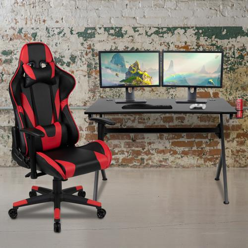 Gallery - Black Gaming Desk and Red\/Black Reclining Gaming Chair Set with Cup Holder, Headphone Hook & 2 Wire Management Holes