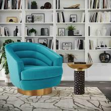 View Product - Canyon Blue Velvet Swivel Chair