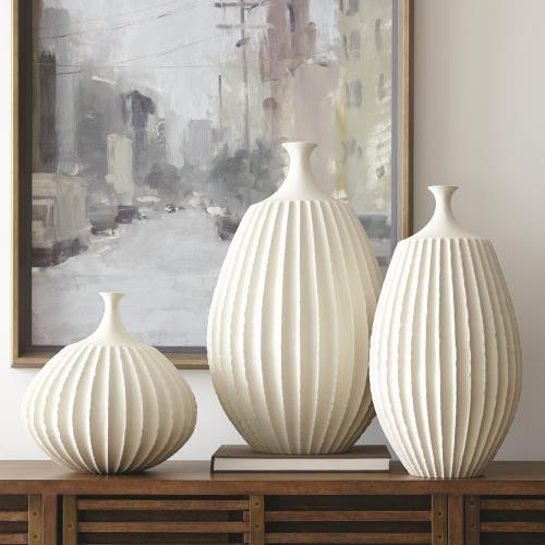 Sawtooth Vase-Rustic White-Med