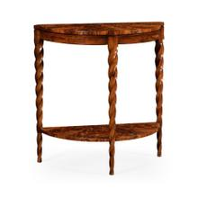 Demilune console with walnut twisted legs