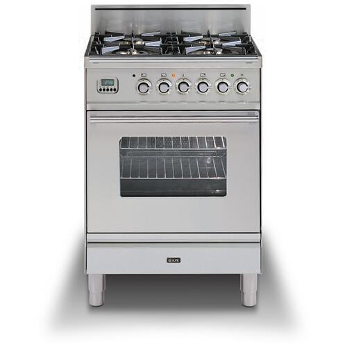 """Ilve - 24"""" Professional Plus Series Freestanding Single Oven Gas Range with 4 Sealed Burners in Stainless Steel"""