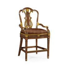 Neo-Classical Gilded Lyre Back Bar Stool Armchair, Upholstered in Red Leather